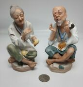 Ardco Fine Quality Figurines Old Man And Woman. Dallas Bisque Porcelain Japan