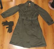 Vtg Us Military Green Field Trench Coat Long Sz M Wool Lined Wwii 1940s And Gloves