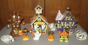 Jcpenny Home 7 Pc Lighted Ceramic Halloween Village W/ Box Guc