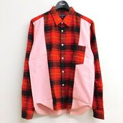 Comme Des Garcons Homme Tartan Check Switching Shirt Red X Pink Size S Hf-b057