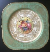 Antique Set If 12 Royal Worcester Hand-painted Flowers Green Square Plates