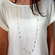 1pc Women Long Necklace Silver Gold Chain Coins Fashion Jewelry Double Wear Way