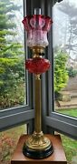 Enormous Ruby Cranberry Glass Parlour Oil Lamp Shade Font Base Burner Immaculate
