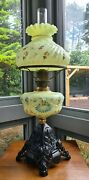 Original Green Vaseline Glass Oil Lamp Hand Painted Font And Shade