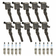 Bosch 10 Ignition Coils And 10 Platinum Spark Plugs 0.059 Kit For Ford 6.8l V10