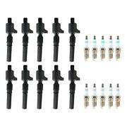 Bosch 10 Ignition Coils And 10 Double Platinum Spark Plugs Kit For Ford