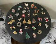 Lot Of Vintage Christmas Brooches/pins And Earrings