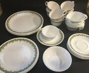 Vintage Crazy Daisy Corelle Spring Blossom Green Dinnerware Plates Cup Set Of 31