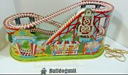 50andrsquos Vintage J Chein Tin Litho Key Mechanical Windup Toy Roller Coaster Only