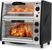 Flexzion Countertop Toaster Oven - 46qt Large Double Door Electric Roaster Cooke