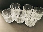 Vintage Art Deco Set Of 6 Crystal Low Ball Or On The Rock Glasses Stunning