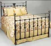 Benicia Foundary Iron Queen Size Black And Gold Bed Frame New In Box