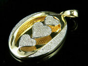 Mens 1ct Round Cut White Moissanite Three Heart Pendant In Solid 14k Yellow Gold