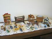 Vtg 30 Pc Lot Dollhouse Miniature Furniture Baby Cradle Doll House Animals Sew
