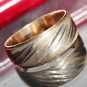 14k Gold Multi Tone Wedding Band Ring Size 6 Handmade 1930and039s Antique 3.6gr