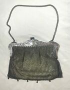 Antique 1800and039s German Silver Metal Mesh Chainmail Clutch Hand Bag Purse Leather