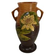 Roseville Pottery Water Lily 1943 Brown Floor Vase 85-18