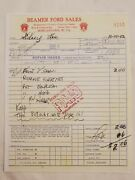 1952 Beamer Ford Sales Morgantown Wv Receipt With Book With Story Sidney Lee