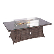 Direct Wicke Rectangular Gas Firepit Rattan Table With Wind Guard