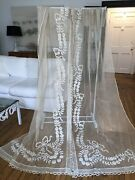 Antique Lace- Circa 1890-1900, Ornate Lace Curtains W/bows,floral Swags