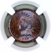 1867 Ms65 Bn Ngc Indian Head Penny Premium Quality Superb Eye-appeal