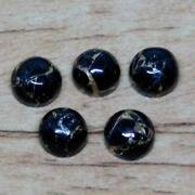 Natural Black Copper Turquoise Round Shape Cabochon Loose Gemstone 11mm To 15mm