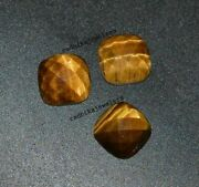 Natural Tiger Eye Loose Gemstones Cushion Shape Checker Cut Size In 16mm To 20mm
