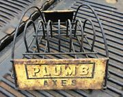 Vintage Plumb Axes Store Display Rack Stand With Front/back Embossed Metal Signs