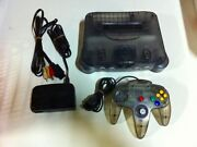 Nintendo 64 Clear Black Console With Controller Cable Included In The Box