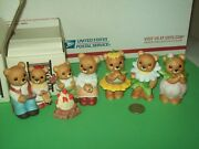 Homco Bears Lot 2 Sets Campfire 1446 And Flowers 8768 Daisy Tulip Figurines