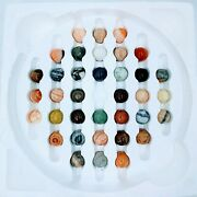 Vtg Bombay Solitaire Game 1994 36 Large Stone Marbles Board Agate Sphere. New