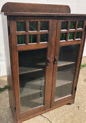 Antique Oak Mission Arts And Crafts 2 Door Bookcase - Green Stained Glass