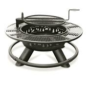 47 Fire Pit With Bbq Grill Outdoor Patio Steel Grate Heat Backyard Cooking