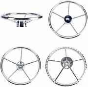 Amarine-made 13-1/2 Inch 5-spoke Destroyer Style Stainless Boat Steering Wheel