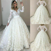 Vintage Wedding Dresses Lace Bridal Gowns Long Sleeves A-line V-neck Sweep Train
