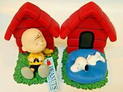 New Boxed Peanuts Collection Charlie Brown And Snoopy Bookends Westland Gift 8267