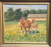 Niels Ström 1881 Oil Painting° Horse With Foal ° Denmark Sign Dat. 1947 Antique