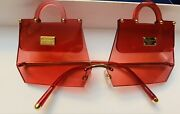 Dolce And Gabbana Sunglasses Red Gold Dg2218 Miss Sicily Bag Style Logo Badge Rare