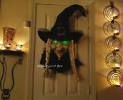 Rare Halloween 3d Witch Wreath Wall Hanging Green Glowing Lighted Eyes Huge 36