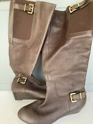 Jessica Simpson Size 7 Brown Calf-high Leather Wedge Heel Zip Up Boots