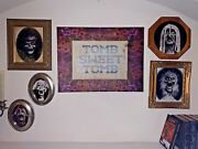 Haunted Mansion Corridor Of Portraits Set W/ Framed Pictures And Tomb Sweet Tomb