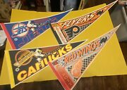 Vintage 90andrsquos Wincraft Nhl Hockey Felt Pennants Canucks Flyers Jets Red Wings