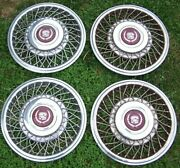 4 - 1992 Cadillac Fleetwood Brougham Wire Spoke Hubcaps Wheel Covers Measure 16