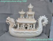 Ancient China Yingqing Porcelain People Old Man Dragon Loong Ferry Ship Statue