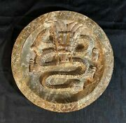 Large Chinese Hand-carved High-relief Jade Stone Plate / Disk
