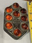 Federal 95 Red Reflector Glass License Plate Topper 40s 30s Chevrolet Accessory