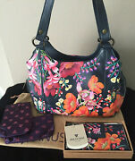 New Anuschka Classic Hobo Bag And Wallet Studded Moonlit Meadow Floral Leather Set