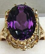 Art Deco Egyptian Revival Style Amethyst 14kt Y Gold Ring