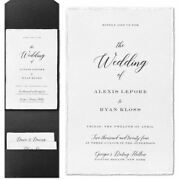 Personalized Wedding Invitations And Pocket Traditional Deckled Edge Thermography