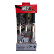 Weber 3-piece Tool Grill Bbq Grilling Set 18 Premium Heavy Duty Stainless Steel